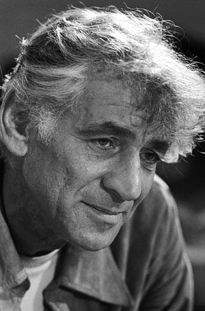 "Leonard Bernstein in rehearsal of his ""Ma..."