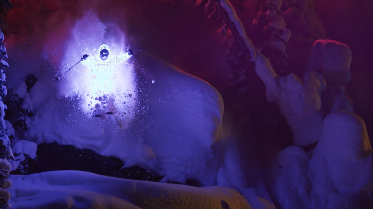 Afterglow: Skiers Traverse an Alaskan Mountain Range Wearing LED Light Suits video art stunts snow skiing light advertising