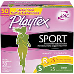 Playtex Sport Tampons, Plastic, Multi-Pack, Unscented, Value Pack - 50 tampons