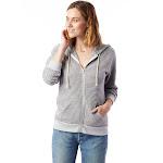 Alternative Adrian Striped Eco-Fleece Zip Hoodie XS Eco Grey Classic Stripe , Alternative Apparel