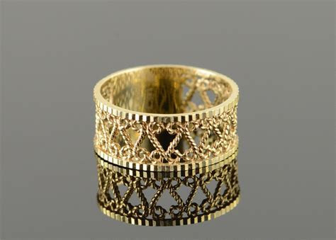 14K 2.8g Rope Scroll Wedding Band Filigree Yellow Gold