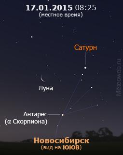 Убывающая Луна, Сатурн и Антарес на утреннем небе Новосибирска 17 января 2015 г.