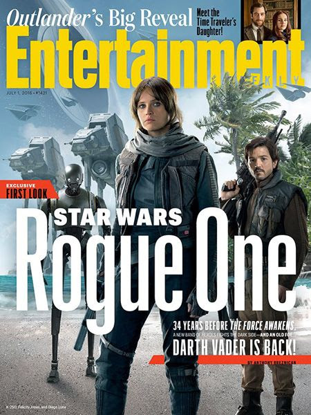 Jyn Erso (Felicity Jones), Cassian Andor (Diego Luna) and the droid K-250 (voiced by Alan Tudyk) grace the cover of the July 1, 2016 issue of Entertainment Weekly magazine.