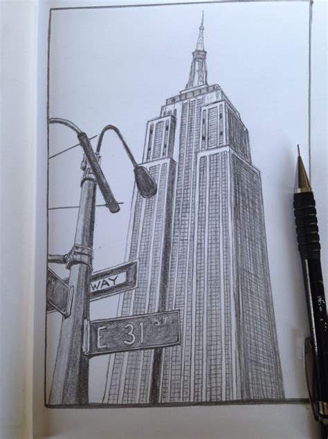 empire state building  york sketch drawing portfolio