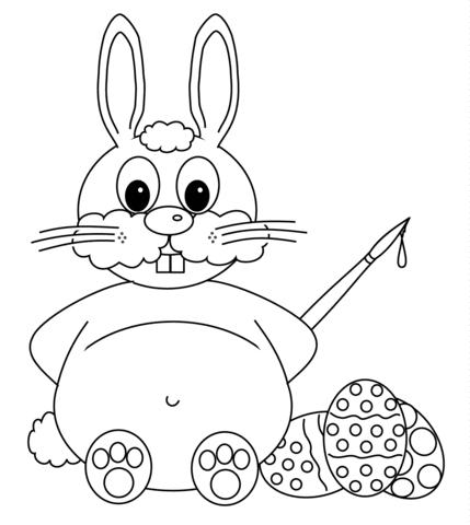 Disegno Di Coniglietto Pasquale Che Sta Per Colorare Le Uova Da