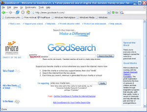 GoodSearch home page