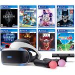 PlayStation VR 11-In-1 Deluxe 8 Games Bundle: VR Headset, Camera, Move Motion Controllers, Skyrim, Batman, DOOM VFR, Battlezone, RIGS, Until Dawn, Bl