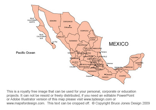 Map Of Mexico States. Mexico Map, capital Mexico