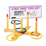 Ring Toss Game 5-Peg Base Wood Pegs 4 Plastic Rings TO28984