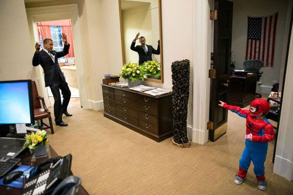 President Obama pretends to face the wrath of Spidey, on December 19, 2012.