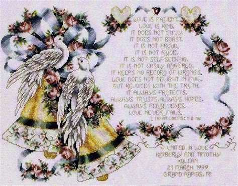 I Corinthians 13 Wedding Bells   cross stitch pattern by