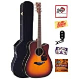Yamaha FGX730SC Solid Top Cutaway Acoustic-Electric Guitar Bundle with Hardshell Case, Tuner, Instructional DVD...