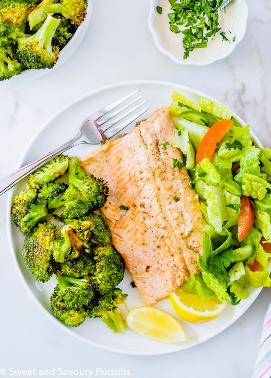 Baked Rainbow Trout Fillets with Roasted Broccoli