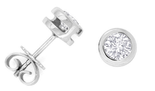 Originalfoto DIAMANT-OHRSTECKER 0,76ct IN 18K WEISSGOLD-ZARGE LUXUS!