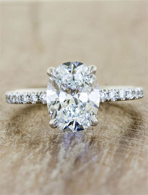 Jessie: Oval Diamond Engagement Ring, Pave Band   Ken