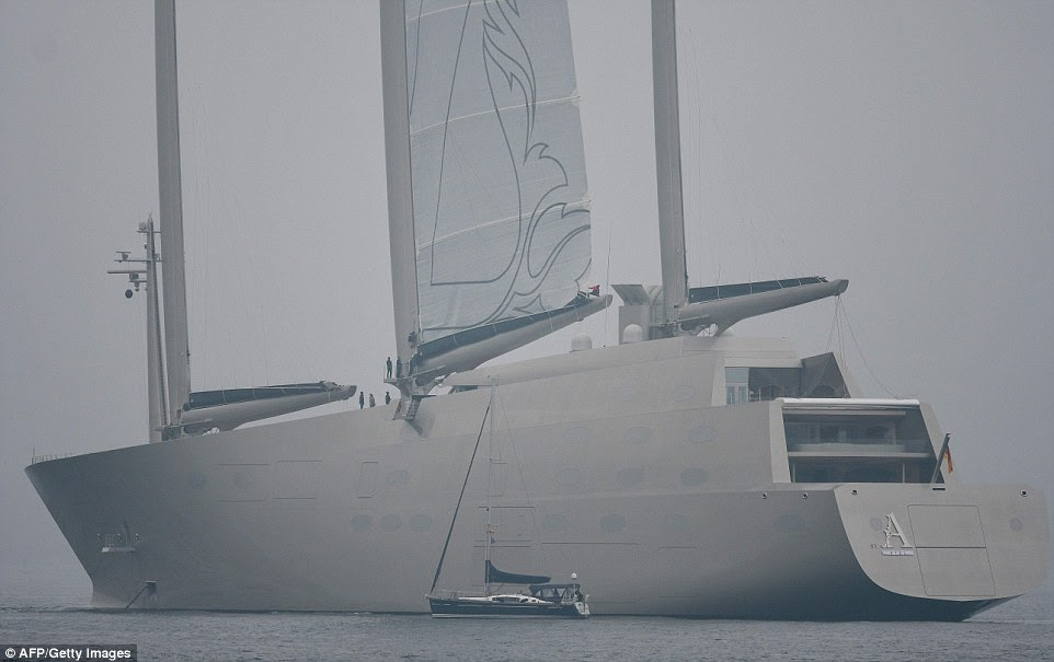 The behemoth vessel, called Sailing Yacht A, is the latest superboat to make its way into the expansive collection of industrialist Andrey Melnichenko, thought to be worth £8.5 billion