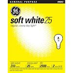 Ge Lighting 2 Pack 25 Watt Soft White Standard Incandescent Light Bulbs 97492