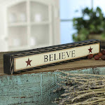 Believe Chunky Wood Block Americana Sign, 12 inches wide, Black, Primitive Decor