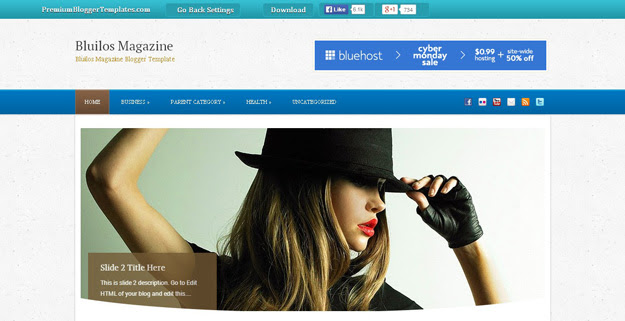 Bluilos Magazine Blogger Template