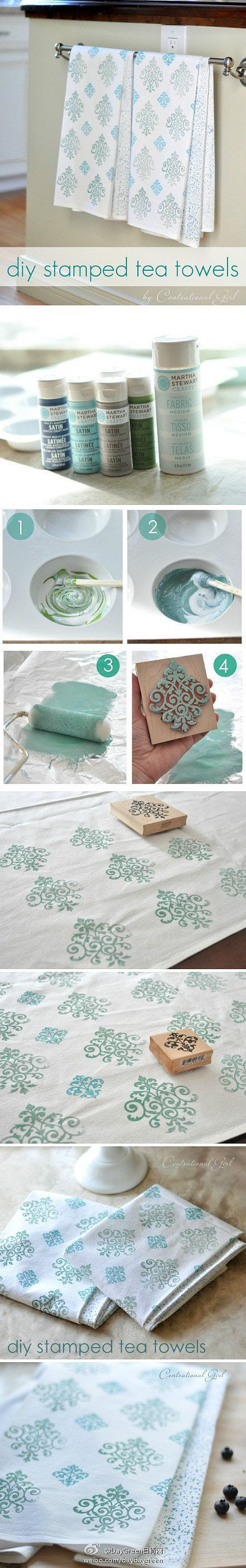 This is a great idea for curtains, towels, rugs and more. Hand stamped instructions.
