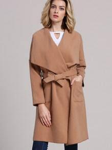 Khaki Lapel Pockets Coat