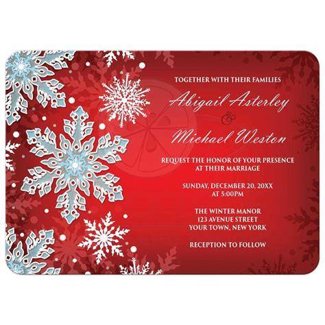 Wedding Invitations   Royal Red White Blue Snowflake