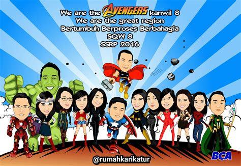 karikatur rekan kerja bank bca  tema avengers