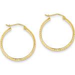 14K Diamond-cut 2.8x25mm Hollow Hoop Earrings