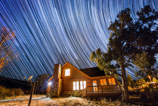 Star trails above New Mexico Cabin