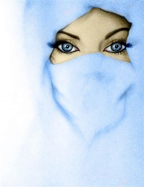 blue eyes  blue niqab drawing  cartoonmuslimah