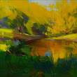 Abstract Landscape Painting - Water Oil Painting - Original Painting Landscape Art by Yuri Pysar