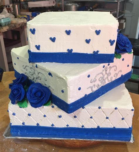 3 tier square wedding cake buttercream cake quilt pattern