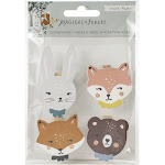 AMERICAN CRAFTS MF351018 4/PKG -MAGICAL FOREST PINS