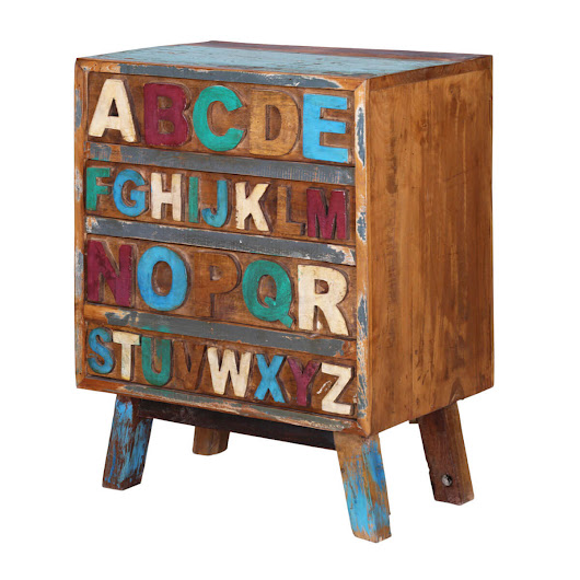 Anaheim Alphabet Handcrafted 4-Drawer Reclaimed Wood Chest of Drawer