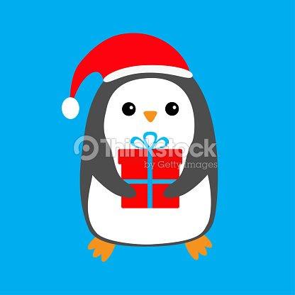 Pinguino Con Sombrero Rojo De Santa Claus Caja De Regalo Caracter