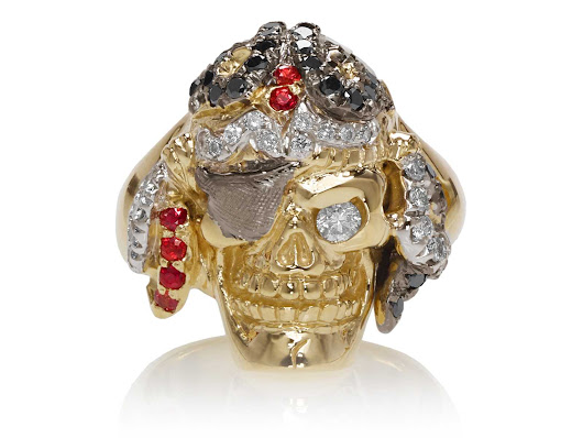 Captain Morgan Men's Pirate Ring :: in Yellow Gold with White and Black Diamonds, with Orange Sapphires
