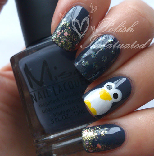 penguin nail art