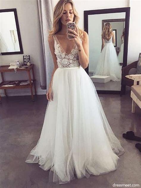 Fairy A Line V Neck Backless White Tulle Wedding Dresses