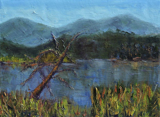 Evergreen Lake, Oil painting by Linda Mooney | Artfinder