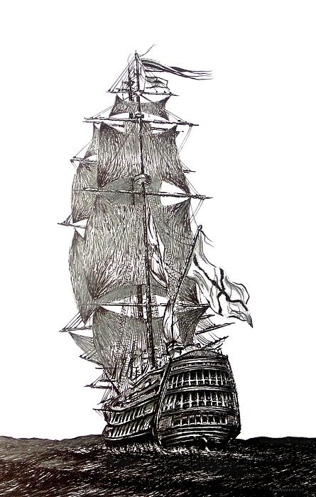 Pen And Ink Drawing Of Sail Ship In Black And White by Mario  Perez