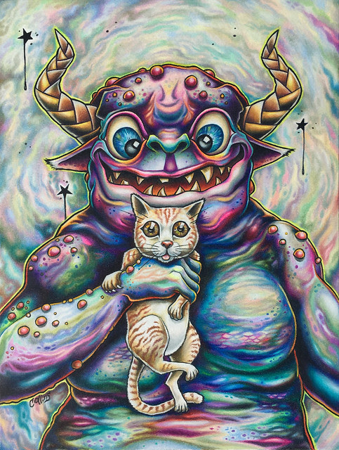 Monster with Cat Drawing in Prismacolor Pencils