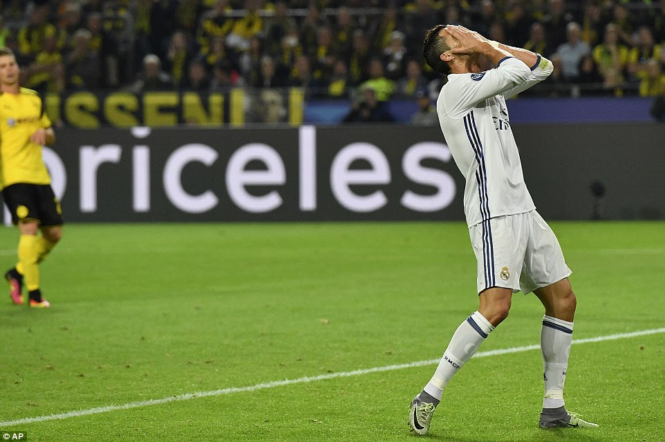 Never far from the action, two-time Ballon d'Or winner Ronaldo reacts after a missed chance in the second-half