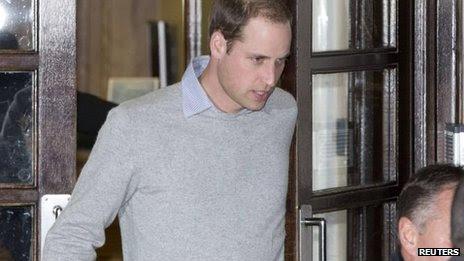 Prince William leaving the King Edward VII hospital on 3 December 2012