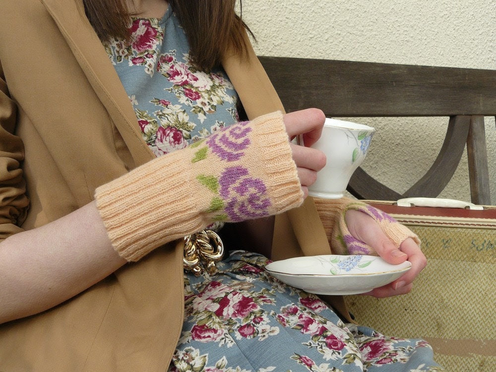 Fingerless Mittens Wrist Warmers Autumn Fall Floral Knit in Peach and Purple Lambswool - MADE TO ORDER