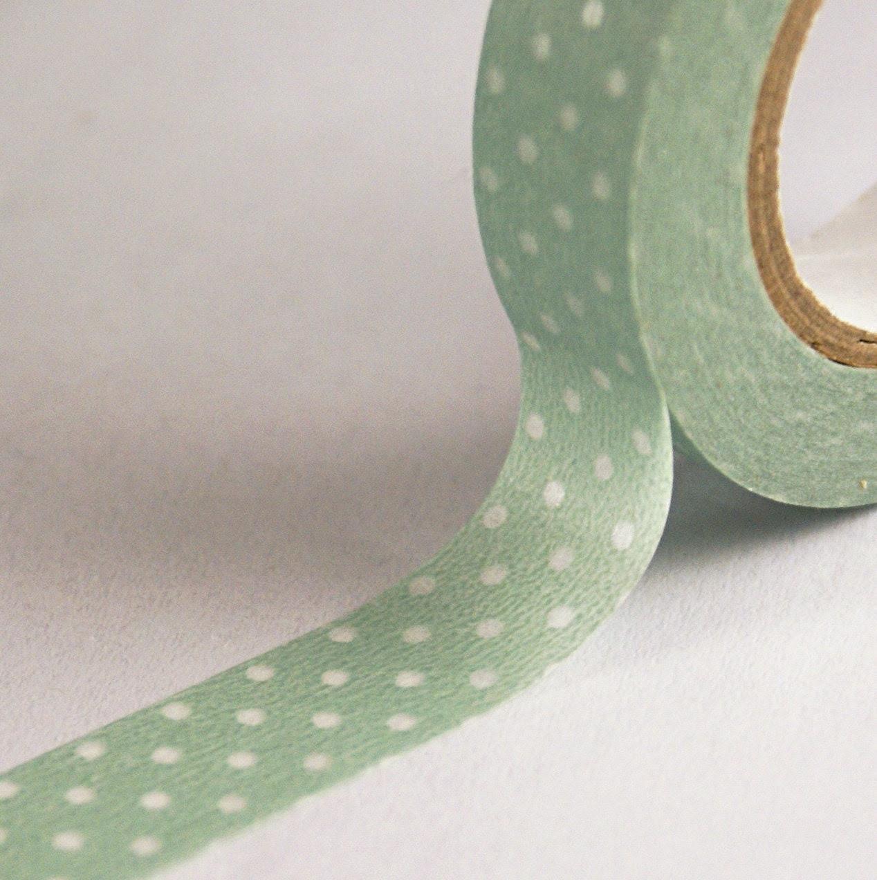 Soft Light Green with Clear Dots Washi Paper Masking Tape-16.5 YARDS - kawaiigoodies