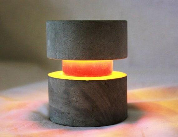O-Lite Concrete Circular Led Table Light 9v Battery Powered