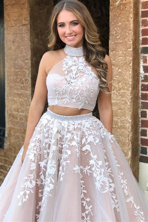 Elegant Two Piece Champagne and White Long Prom Dress with