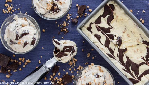 No-churn Bourbon Vanilla Fudge Swirl Ice Cream with Toffee Bits. No ice cream maker required!