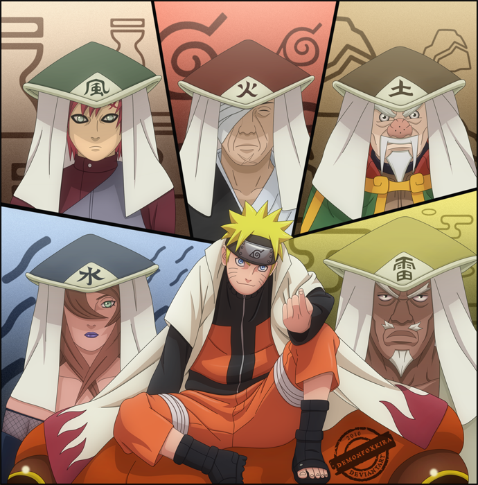 Naruto with the 5 kages by DemonFoxKira on DeviantArt