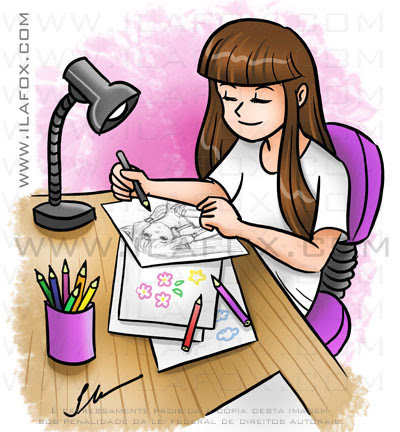 Desenho Mangá encomenda, menina desenhando na escrivaninha, by ila fox